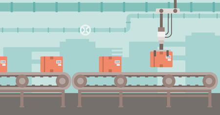 Background of conveyor belt with robot arm and boxes vector flat design illustration. Horizontal layout. Vectores