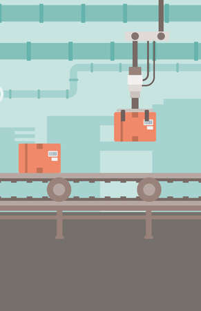 conveyor system: Background of conveyor belt with robot arm and boxes vector flat design illustration. Vertical layout.