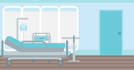 Background of hospital ward with medical equipment vector flat design illustration. Horizontal layout. Stock Illustratie
