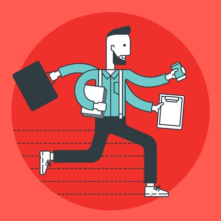 overload: A hipster businessman running in a hurry with many hands. Work overload concept. Vector line design illustration. Square layout.