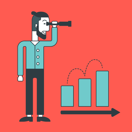 business opportunity: A hipster businessman looking through telescope at a rising bar chart. Business development concept.  Vector line design illustration. Square layout. Illustration