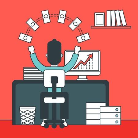 dinero volando: Un hombre que se sienta delante de su ordenador con las manos levantadas y dinero volando por encima de él. concepto de desarrollo de negocios. Vector de la línea diseño de la ilustración. de planta cuadrada.