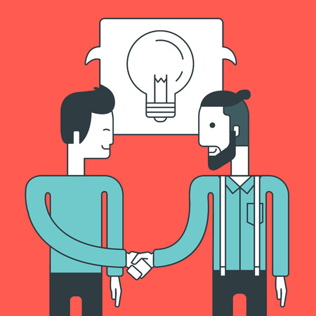 men standing: Two men standing standing face to face and handshaking for the successful business deal. Business partnership concept. Vector line design illustration. Square layout.