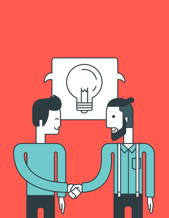 business deal: Two men standing standing face to face and handshaking for the successful business deal. Business partnership concept. Vector line design illustration. Vertical layout.