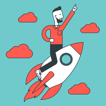 man flying: A hipster young man with raised hand flying on the rocket. Business start up concept. Vector line design illustration. Square layout. Illustration