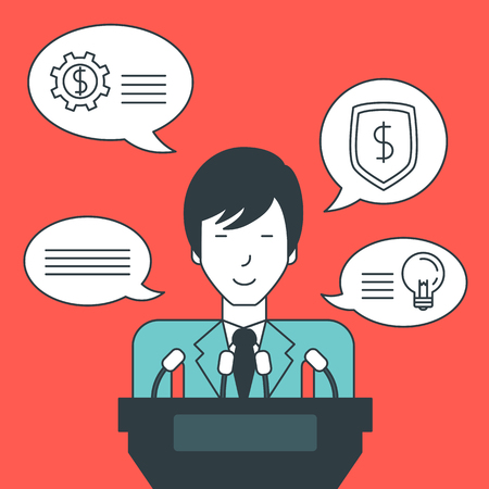 the reporting: An asian speaker standing at the podium with microphones and giving a speech. Reporting concept. Vector line design illustration. Square layout.