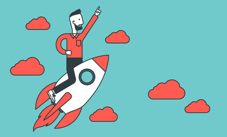 man flying: A hipster young man with raised hand flying on the rocket. Business start up concept. Vector line design illustration. Horizontal layout.