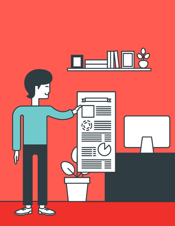 the reporting: An asian man standing in office and showing his complete paperwork. Reporting concept. Vector line design illustration. Vertical layout. Illustration