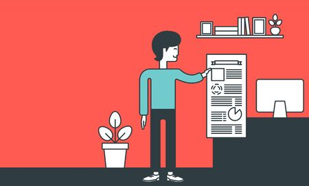 the reporting: An asian man standing in office and showing his complete paperwork. Reporting concept. Vector line design illustration. Horizontal layout.