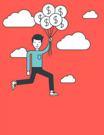 layout: An asian businessman flying with balloons. Successful business concept. Vector line design illustration. Vertical layout. Illustration