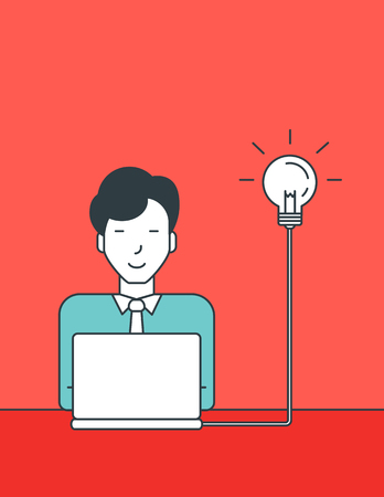 asian businessman: An asian businessman working on laptop connected with a light bulb. Successful business idea concept. Vector line design illustration. Vertical layout. Illustration