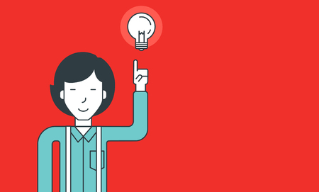 man pointing: An asian man pointing at light bulb. Successful business idea concept. Vector line design illustration. Horizontal layout. Illustration