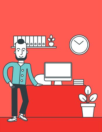 A hipster man with the beard standing in office. Successful business concept. Vector line design illustration. Vertical layout.