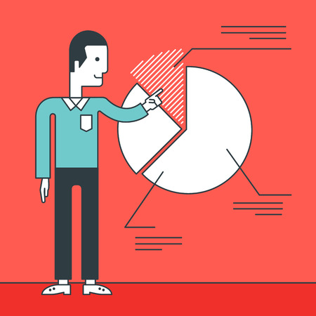 reporting: A man presenting his report through pie chart. Reporting concept. Vector line design illustration. Square layout.