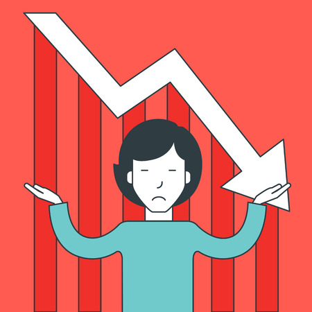 A confused asian businessman with falling down graph behind him. Bankruptcy concept. Vector line design illustration. Square layout.