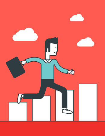 line graph: Cheerful businessman running along the growth graph. Vector line design illustration. Vertical layout. Illustration