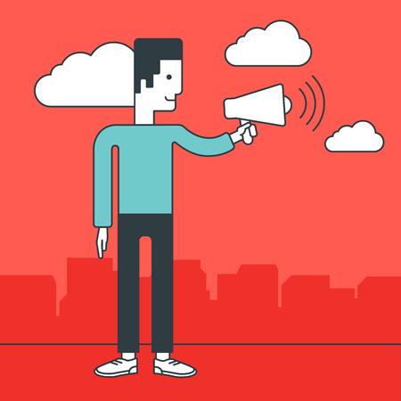 make public: A businessman speaking into a megaphone. Business announcement concept. Vector line design illustration. Square layout. Illustration