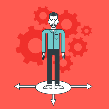 A hipster businessman with the beard standing on three alternative ways and gears behind him. Vector line design illustration. Square layout.