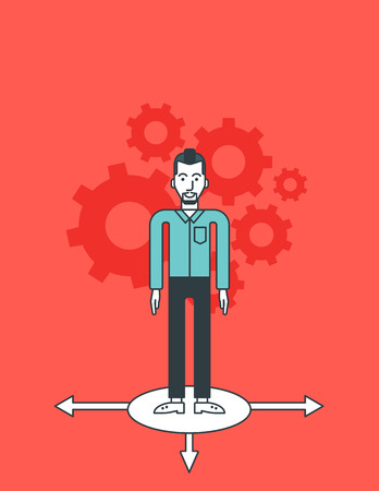 A hipster businessman with the beard standing on three alternative ways and gears behind him. Vector line design illustration. Vertical layout.