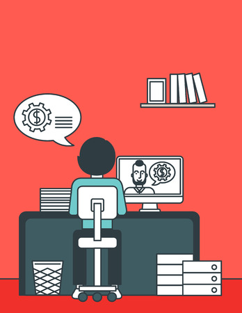 A rear view of a man sitting at the office and talking with other man using video chat. Communication concept. Vector line design illustration. Vertical layout.