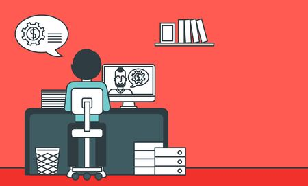 A rear view of a man sitting at the office and talking with other man using video chat. Communication concept. Vector line design illustration. Horizontal layout. Ilustrace