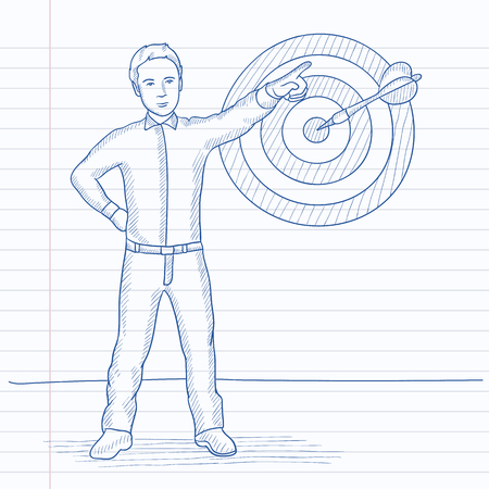 man pointing: A man pointing at arrow in a target board. Hand drawn vector sketch illustration. Notebook paper in line background. Illustration