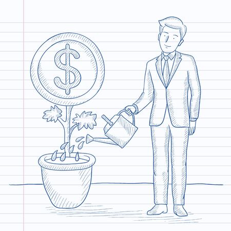 plant stand: A man taking care of finances watering a money flower. Hand drawn vector sketch illustration. Notebook paper in line background.