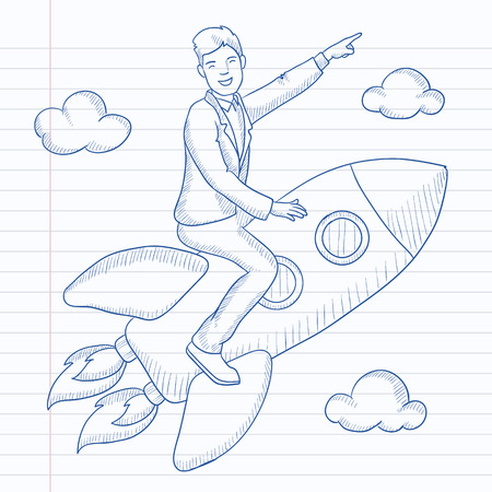man pointing up: A man flying on the rocket and pointing his forefinger up. Hand drawn vector sketch illustration. Notebook paper in line background.