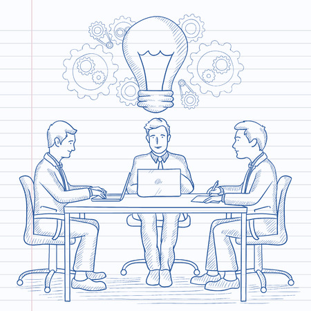 Business people sitting at the table with idea light bulb and brainstorming on business meeting. Hand drawn vector sketch illustration. Notebook paper in line background. 向量圖像