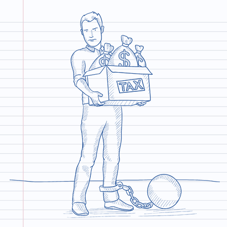 chained: Chained to a large ball man carrying heavy box with bags full of taxes. Hand drawn vector sketch illustration. Notebook paper in line background. Illustration