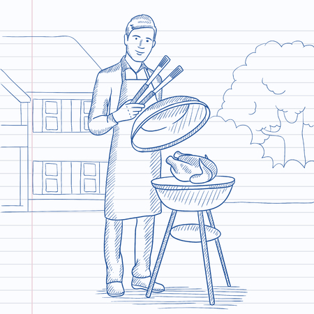front yard: A man cooking chicken on barbecue in the yard in front of house. Hand drawn vector sketch illustration. Notebook paper in line background.