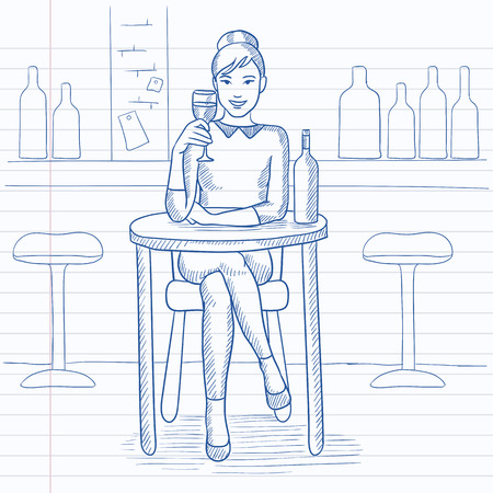 woman drinking wine: A woman sitting at the bar and drinking wine. Hand drawn vector sketch illustration. Notebook paper in line background.