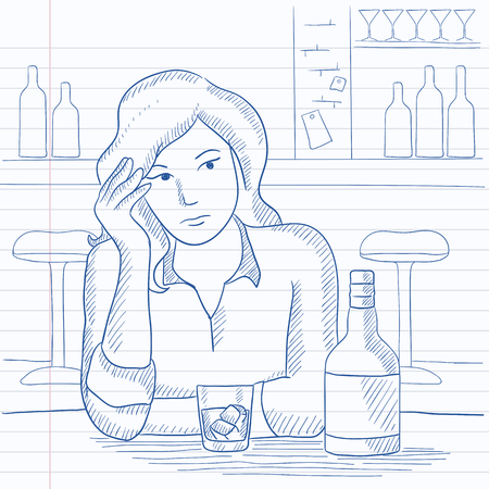 A sad woman sitting at the table with a bottle and a glass at the bar. Hand drawn vector sketch illustration. Notebook paper in line background.