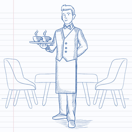 lenght: A waiter holding a tray with cups of tea or coffee at the bar. Hand drawn vector sketch illustration. Notebook paper in line background.