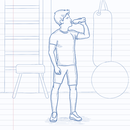 man drinking water: A sportive man drinking water in the gym. Hand drawn vector sketch illustration. Notebook paper in line background.