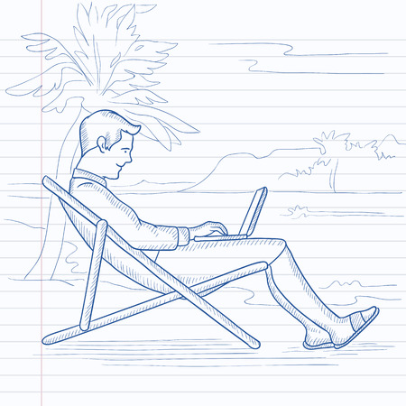 A businessman sitting on the beach in chaise lounge and working on a laptop. Hand drawn vector sketch illustration. Notebook paper in line background. Illustration