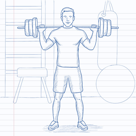 A man lifting a barbell in the gym. Hand drawn vector sketch illustration. Notebook paper in line background.