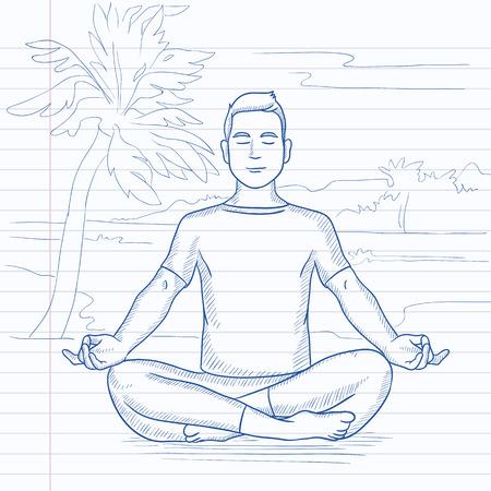 A man meditating in lotus pose on the beach. Hand drawn vector sketch illustration. Notebook paper in line background. Ilustração