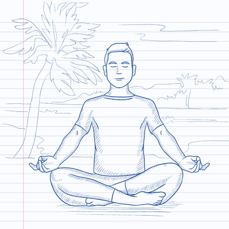 A man meditating in lotus pose on the beach. Hand drawn vector sketch illustration. Notebook paper in line background. Illustration