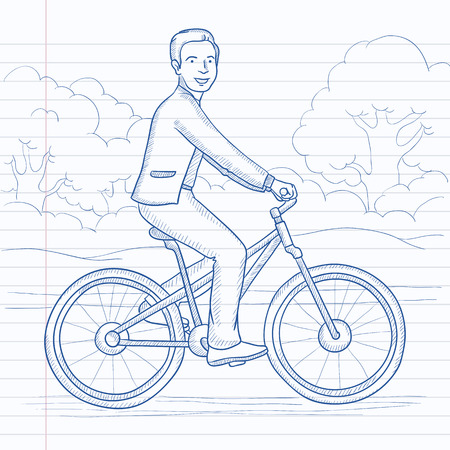 A man riding a bicycle in the park. Hand drawn vector sketch illustration. Notebook paper in line background.