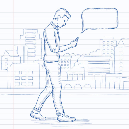 A hipster man with the beard walking with a smartphone in the city. Hand drawn vector sketch illustration. Notebook paper in line background. Illustration