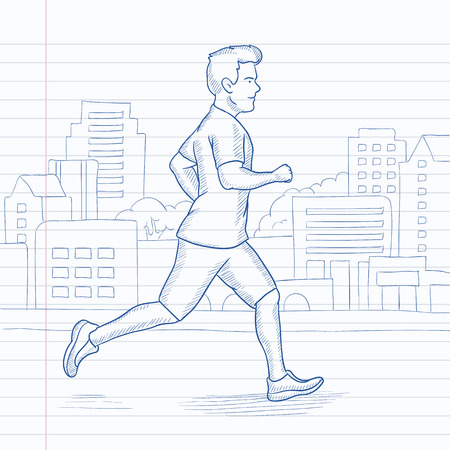 A man jogging in the city. Hand drawn vector sketch illustration. Notebook paper in line background. Illustration