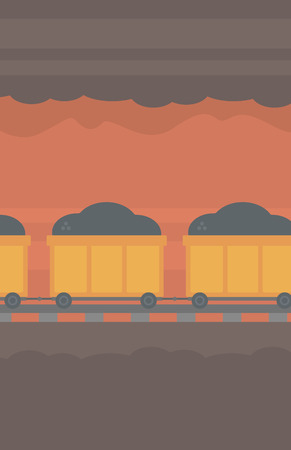 underground: Background of underground tunnel with mining cart full of coal vector flat design illustration. Vertical layout.