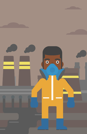 An african-american man wearing a protective chemical suit for toxic atmosphere on background of nuclear power plant vector flat design illustration. Vertical layout.
