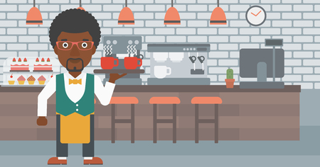 lenght: An african-american waiter holding a tray with cups of tea or coffee at the bar vector flat design illustration. Horizontal layout.