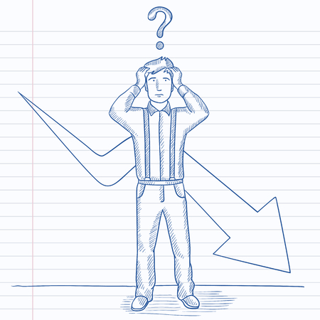 going down: A businessman in despair with a question mark above his head and an arrow going down behind him. Hand drawn vector sketch illustration. Notebook paper in line background.