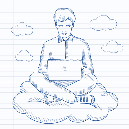 cartoon cloud: A man sitting on a cloud with a laptop on his knees. Hand drawn vector sketch illustration. Notebook paper in line background. Illustration