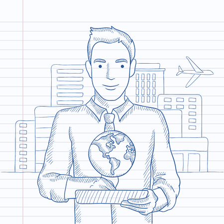 computer model: A man standing with a tablet computer in hands and a model of globe above the device on the background of modern city. Hand drawn vector sketch illustration. Notebook paper in line background. Illustration