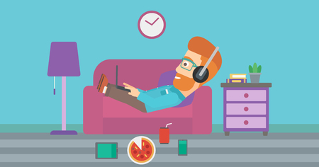 electronic devices: A hipster man in headphones lying on a sofa in living room with electronic devices and fast food vector flat design illustration. Horizontal layout.