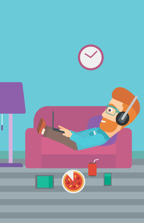 electronic devices: A hipster man in headphones lying on a sofa in living room with electronic devices and fast food vector flat design illustration. Vertical layout.